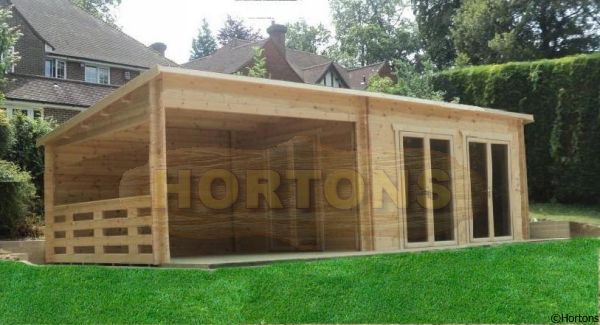 Log Cabin Pent / flat roof log cabins