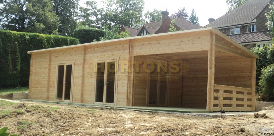 Log Cabin Westminster - 14x4m Pent Log Cabin